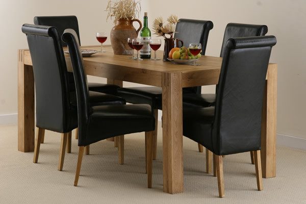 Alto Solid Oak 6ft x 3ft Dining Table with six Black Scroll back chairs